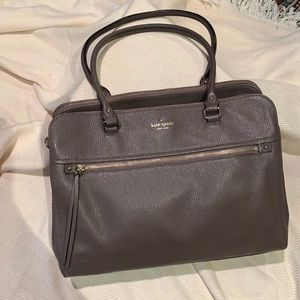 EUC CLASSIC Kate spade large leather taupe satchel